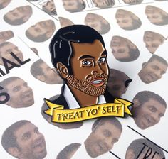 Treat Yo' Self - Soft Enamel Pin - Tom Haverford Parks and Recreation by MillennialPins on Etsy https://www.etsy.com/listing/463103544/treat-yo-self-soft-enamel-pin-tom