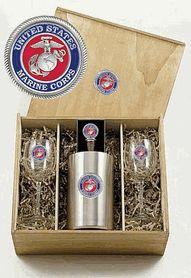 USMC Marine Corps Boxed Wine Set of Chiller - 2 Glasses $130.00