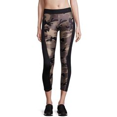 KORAL Hammer Cropped Leggings (€125) ❤ liked on Polyvore featuring pants, leggings, apparel & accessories, camo black, camoflauge leggings, stretch waist pants, cropped trousers, camouflage pants and elastic waistband pants