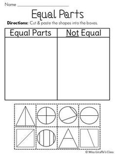 Equal Parts or Unequal Parts Cut and Paste Worksheets