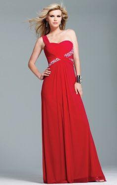 Fashion A-line Floor-length One Shoulder Red Chiffon Dress