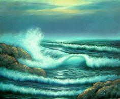 ocean oil painting | ... Portraits - Artwork Update - NEW!! Ocean Wave Seascape Oil Painting