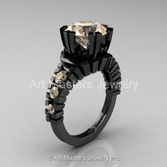 Modern 14K Black Gold 3.0 Ct Champagne Diamond by artmasters, $2199.00