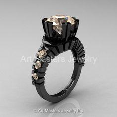 Modern 14K Black Gold 3.0 Ct Champagne Diamond by artmasters, $2199.00