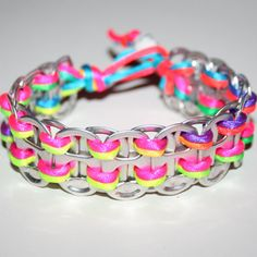 Pop Top Bracelet-Think this would be neat to DIY with my girls Pop Top Crafts, Cute Crafts, Crafts To Do, Crafts For Kids, Can Tab Bracelet, Bracelets, Diy Bracelet, Neon Rainbow, Rainbow Loom