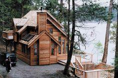 Plano de hermosa cabaña de dos pisos y 3 dormitorios