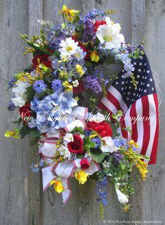 Patriotic Wreath Fourth of July Wreath Summer by NewEnglandWreath