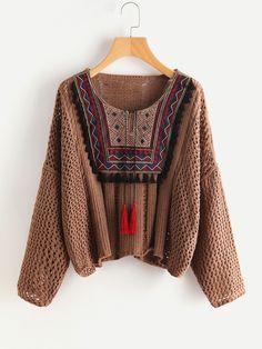 Pullover mit Quaste, Stickereien und Öse - German SheIn(Sheinside)