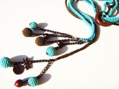 Turquoise brown multi strand crochet lariat by NMNHANDMADE on Etsy, $25.00