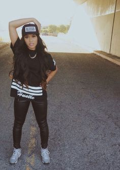 Asian Beauty Blessed SnapBack Hustle Black TShirt Leather Leggings Dope Urban Streetwear Fashion Style Bad Bitch Rebel Pretty Girl Swag Comfy, Cute, Sexy, and Badass Swag Outfits, Dope Outfits, Urban Outfits, Casual Outfits, Fashion Outfits, Fashion Trends, Hip Hop Fashion, Dope Fashion, Fashion Killa