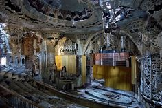 The beautiful Spanish-Gothic interior of the United Artists Theater in Detroit lays sadly unutilised and decaying. [Michigan, USA]