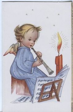 Vintage Christmas Card - Angel Playing a Recorder