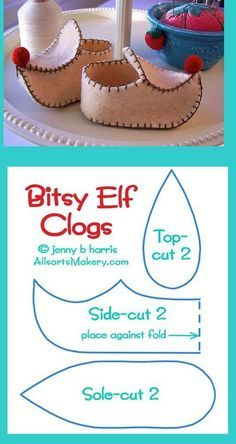 Sweet little elf shoes! all star para american girl dolls Baby shoes but also a nice breakdown of pointy clogs felt clog for St Nicholas day at catechism class? Image: Lovely Shoe For This Summer Outfit. Felt Crafts, Christmas Crafts, Christmas Costumes, Crochet Crafts, Doll Shoe Patterns, Baby Shoes Pattern, Elf Shoes, Clogs Shoes, Christmas Gnome