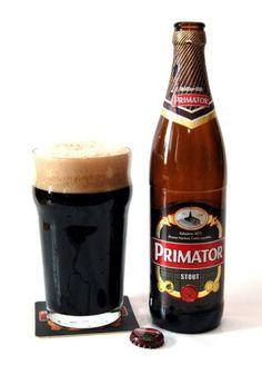 """PRIMATOR STOUT dry stout, piwo górnej fermentacji typu """"anglo-irlandzkiego"""" Browar: Pivovar Nachod Ekstrakt: 12% Alkohol: 4,7%"""