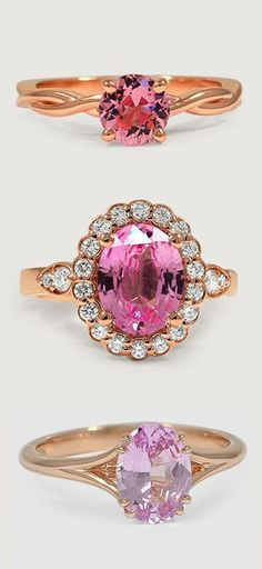 Jewelry, loving the pink, alternative stones, Love these beautiful rings featuring dazzling pink sapphires.