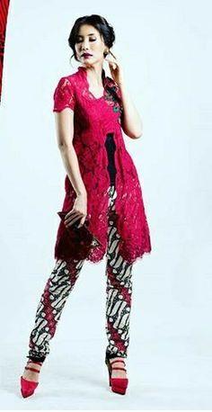 Kebaya Lace, Kebaya Brokat, Dress Brokat, Kebaya Dress, Batik Kebaya, Batik Blazer, Blouse Batik, Batik Dress, Batik Fashion