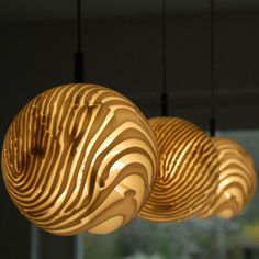 Detail Triple Pendant Lamp (looks like fingerprints or grains in wood, loves it)