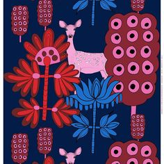Marimekko Kaunis Kauris Dark Blue/Pink Fabric Repeat