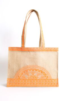 Shiraleah Alma Orange Jute Beach Tote Bag