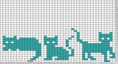 """""""Cats"""", by acatherineling / tk C2c Crochet, Tapestry Crochet, Knitting Charts, Knitting Stitches, Fair Isle Knitting, Cat Crafts, Black Cats, Cross Stitch Designs, Quilt Patterns"""