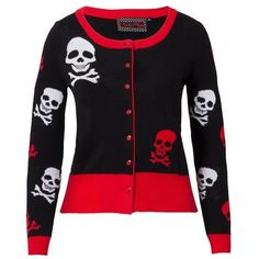 Voodoo Vixen Cardigan Skull White Red ($44) ❤ liked on Polyvore featuring tops, cardigans, skull print cardigan, cardigan top, rayon tops, red top and white top