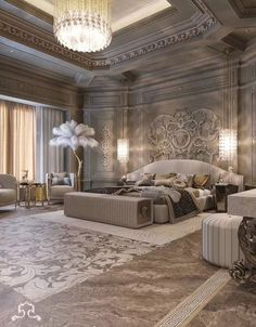 Amazing 32 Best Furniture Stores For Bedroom Sets Furniture; Get the look of trendy bedroom sets you desire for an untouchable … Luxury Homes Interior, Luxury Home Decor, Home Interior Design, Modern Mansion Interior, Palace Interior, Bedroom Sets, Home Bedroom, Modern Bedroom, Master Bedroom