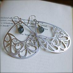 silver teardrop earrings with labradorite drops, $23