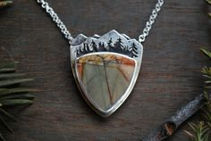 Picasso Jasper and Sterling Silver Mountain Range - Landscape Pendant Necklace by GatherAndFlow