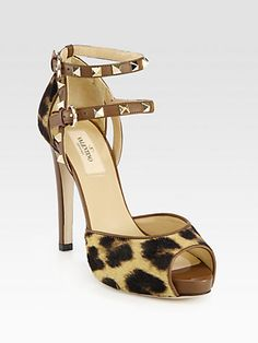 Valentino Leopard-Print Calf Hair & Leather Rockstud Sandals - Saks - $458.00