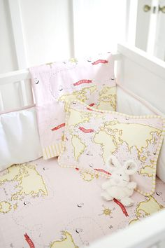 A baby girl's nursery begins with stylish pink crib bedding! Fresh and chic pink baby bedding in a variety styles all made in the USA. Choose a pink crib bedding set that is simple, floral or classic. Pink Crib Bedding, Baby Girl Bedding, Nursery Crib, Girl Nursery, Nursery Ideas, Sheets Bedding, Baby Sheets, World Traveler Nursery, Pirate Nursery