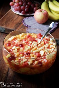 """Is """"Tizana"""" a drink or is it fruit salad? Let's call it Venezuelan Fruit Punch. Try the easy recipe for your next party, or keep a batch in the fridge for healthy snacking all day long. And it's both, a punch and a fruit salad. Tastier than a fruit punch. Healthy Recipes, Healthy Snacks, Cooking Recipes, Venezuelan Food, Venezuelan Recipes, Yummy Drinks, Yummy Food, Comida Latina, Fruit Punch"""