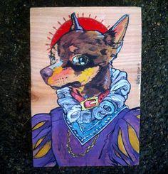 Lady Olive Barkington III - Victorian Chihuahua original acrylic painting -cedar $40.00