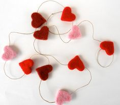 Red, Pink, Rust Wool Felted Heart Garland
