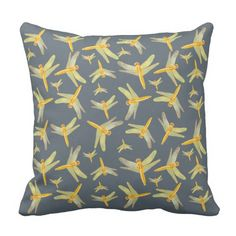 Print of gold and green dragonflies throw pillow. #pretty #elegant #photograph #decoration #fashion #dragonflies