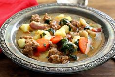 easy paleo soup recipe – Italian sausage and potato   So good! I substituted white potatoes for the sweet potato and kale instead of spinach.