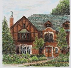 "Tudor Brick House Architectural Art Original Pen and Ink Pastel Slate Roof Wall decor 12"" x 12"""
