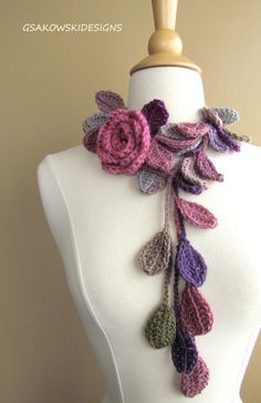 Queen Elizabeth Rose LariatScarfletteDusty by gsakowskidesigns, $35.00