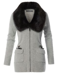 LE3NO Womens Knitted Utility Sweater Jacket with Detachable Fur Trim