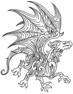 Fancy flourishes make up a fierce dragon. Nice and regal! Downloads as a PDF. Use pattern transfer paper to trace design for hand-stitching.
