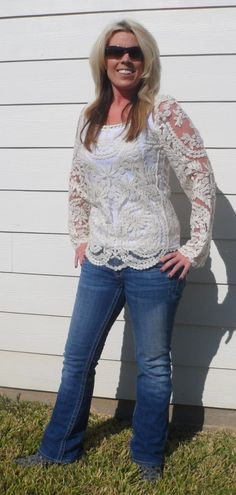 Embroidered Ivory Lace Sheer Top Blouse, Ripped Jeans & Cowboy Boots