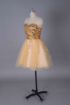 Sweetheart Sequined Lace Tulle Gold Short Prom Dresses