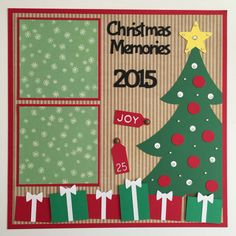 Premade 12x12 Christmas Memories scrapbook page  :::NOTE::: Let me know what year you would like in the note section when ordering!  2 - 4 1/4 x 4 1/4 mats  Your 4 x 6 photo slide under the ribbon.  Special Features: Ribbon, Layered, Jewels & 3D  All items come from a smoke - free home! Thanks for looking! :)