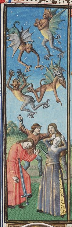 """Augustine, City of God. Paris, Maïtre François (illuminator); c. 1475; 1478-1480. The Hague. """"Demons rejoicing in the misfortunes of mankind, pointing and mocking."""""""