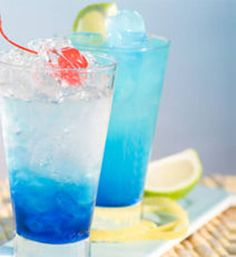 Blue Lagoon. Hmmm....gorgeous looking but no clue if Blue Curacao is yummy or cloyingly sweet.