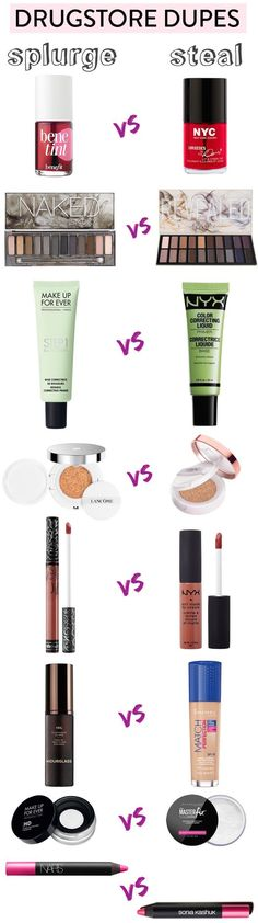 Get the high-end look without breaking the bank with these incredible drugstore dupes for high-end makeup! There are more than 55 best drugstore makeup dupes in this ULTIMATE list! Make Up Dupes, Beauty Make-up, Beauty Dupes, Beauty Tricks, Black Beauty, Beauty Nails, Makeup Inspo, Makeup Tips, Makeup Geek