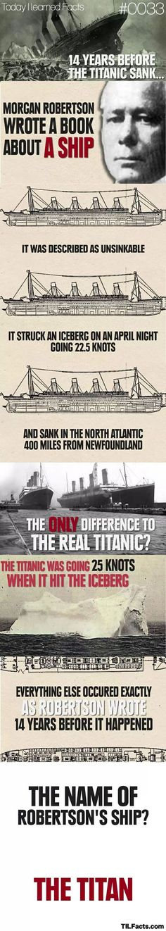 "In 1898, 14 years before the Titanic sank, Morgan Robertson wrote a book about a ship called the ""Titan"" that crashed into an iceberg and sank.The book is Futility or The Wreck of the Titan. In addition to having the same outcome (crashing into an iceberg and sinking, the fictional ""Titan"" and the real-life ""Titanic"" had other bizarre similarities. They were both over 800 feet long. They both were known as ""unsinkable"". They both sunk in the North Atlantic...."