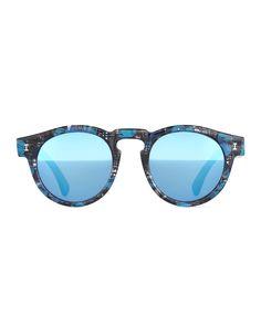 Illesteva | Blue Leonard Eco Mirrored Sunglasses | Lyst