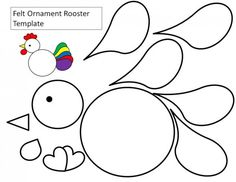 Felt ornament rooster template -- printable could cut from colored paper or felt --would make a cute Christmas or Easter ornament Letter R Crafts, Alphabet Crafts, Rooster Craft, Easy Crafts, Crafts For Kids, Chicken Crafts, Kindergarten Age, Doodle Doo, Art Activities For Kids
