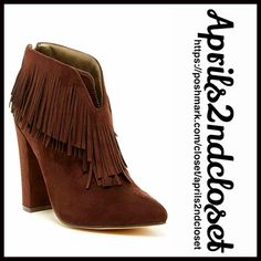 "❗️1-HOUR SALE❗️BOHO FRINGE BOOTS Heeled 💟NEW WITH TAGS💟 RETAIL PRIC: $98  BOHO FRINGE BOOTS Heeled Ankle Booties  * Back zip closure; Vegan faux suede leather  * Two layers of fringe wrap the ankle & vamp  * Pointed toe & chunky 4"" high stacked heels  * Gold tone hardware  * Approx 4"" high shaft & 9"" opening  * True to size   MATERIAL: Manmade upper & sole  COLOR: Chocolate Brown        ITEM #94400  🚫No Trades🚫 ✅ Offers Considered*✅ *Please use the blue 'offer' button to submit an offer…"
