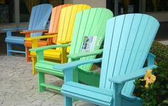 Adirondack Chair at cottageshop.com  Love the colors!